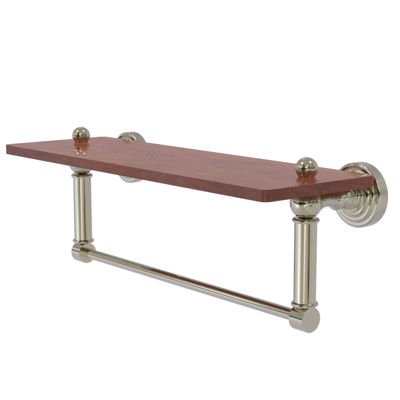 Allied Brass Waverly Place Collection 16 IN SolidIpe Ironwood Shelf With Integrated Towel Bar