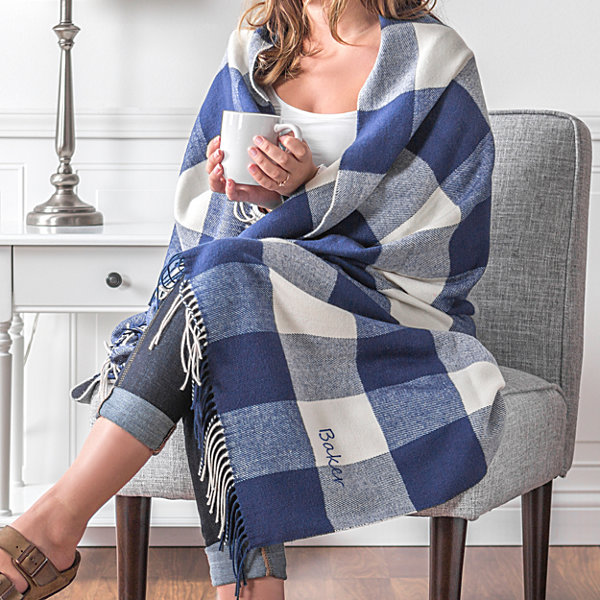 Cathy's Concepts Personalized Buffalo Check Throw