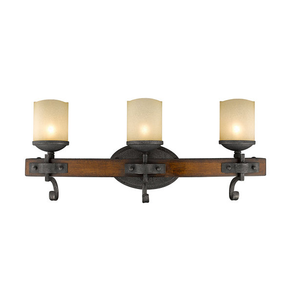Madera 3-Light Bath Vanity in Black Iron with Toscano Glass