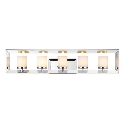 Smyth 5-Light Bath Vanity in Chrome with Cased Opal Glass