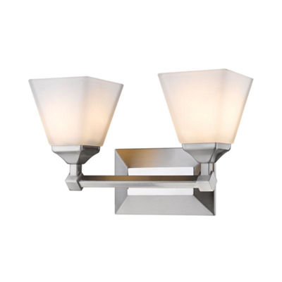 Gentry 2-Light Bath Vanity in Pewter with Opal Glass