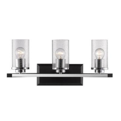 Mercer 3-Light Bath Vanity in Black with Seeded Glass