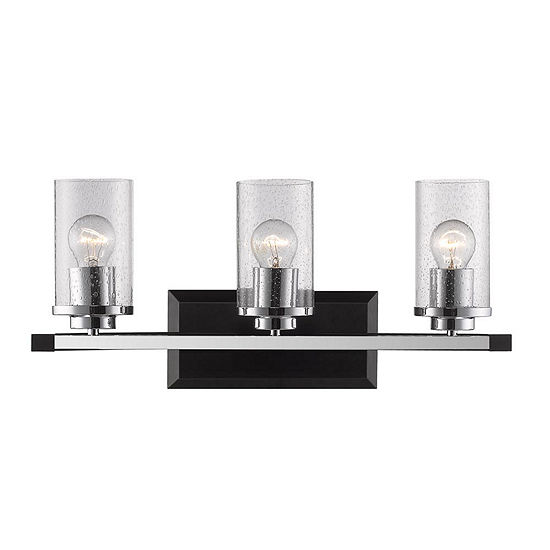 Mercer 3-Light Bath Vanity in Black with Seeded Glass