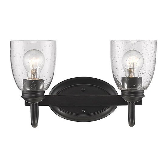 Parrish 2-Light Bath Vanity in Black with Seeded Glass