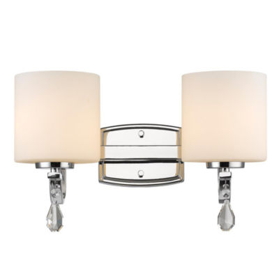 Evette 2-Light Bath Vanity in Chrome with Opal Glass