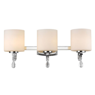 Evette 3-Light Bath Vanity in Chrome with Opal Glass