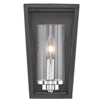 Mercer 1-Light Wall Sconce in Black with Seeded Glass