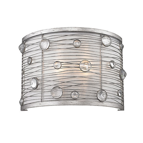 Joia 1-Light Wall Sconce in Peruvian Silver with Sterling Mist Shade