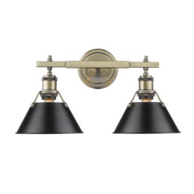 Orwell 2-Light Bath Vanity in Aged Brass