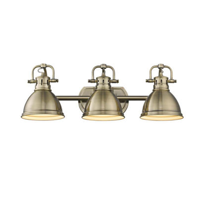 Duncan 3-Light Bath Vanity in Aged Brass