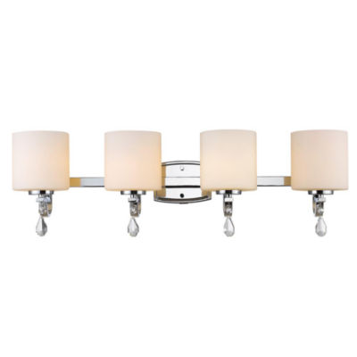 Evette 4-Light Bath Vanity in Chrome with Opal Glass
