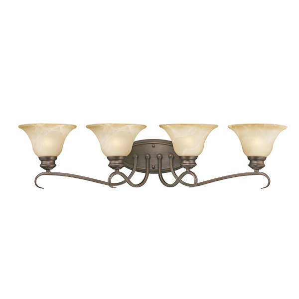 Lancaster 4-Light Bath Vanity in Rubbed Bronze with Antique Marbled Glass
