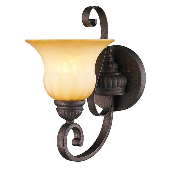 Mayfair 1-Light Wall Sconce in Leather Crackle with Crème Brulee Glass