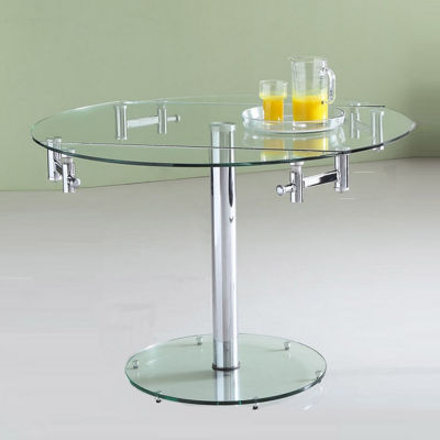 Extendable round glass dining table jcpenney for Dining room tables jcpenney