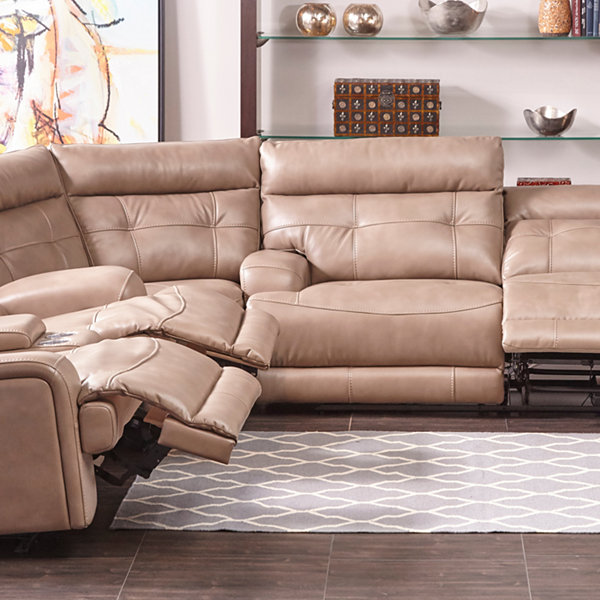 Jacob Power Leather Gel Recliner Sectional