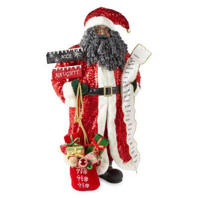 North Pole Trading Co. Sequin With List Santa Figurine