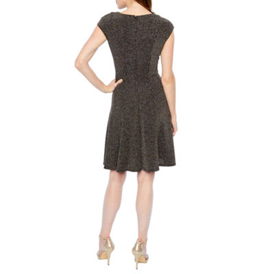 London Times Cap Sleeve Glitter Knit Fit & Flare Dress
