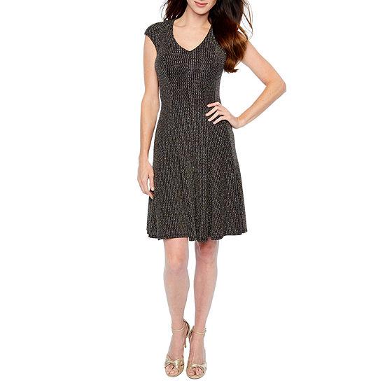 London Times Cap Sleeve Glitter Knit Fit & Flare Dress