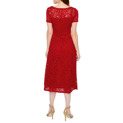 Ronni Nicole Short Sleeve Lace Paisley Fit & Flare Dress