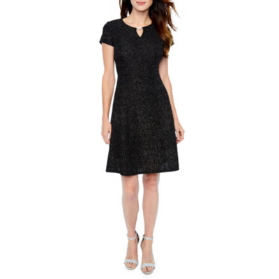 Alyx Short Sleeve Holiday Glitter Fit & Flare Dress