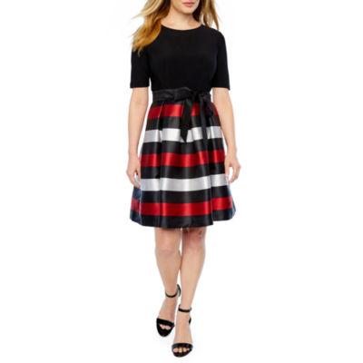 R & K Originals Short Sleeve Stripe Fit & Flare Dress