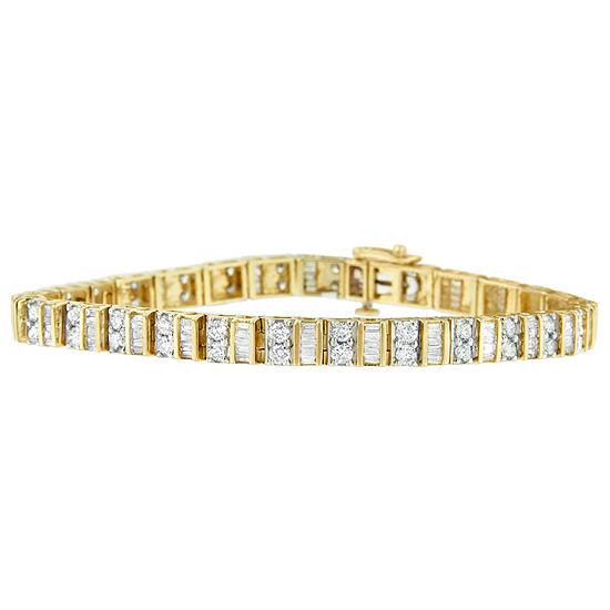 4 Ct Tw Genuine White Diamond 14k Gold 7 Inch Tennis Bracelet