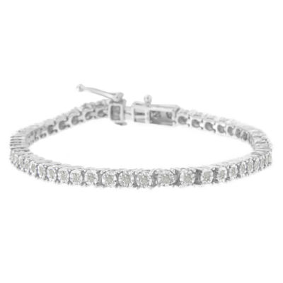 1 CT. T.W. Genuine White Diamond Sterling Silver 8 Inch Tennis Bracelet