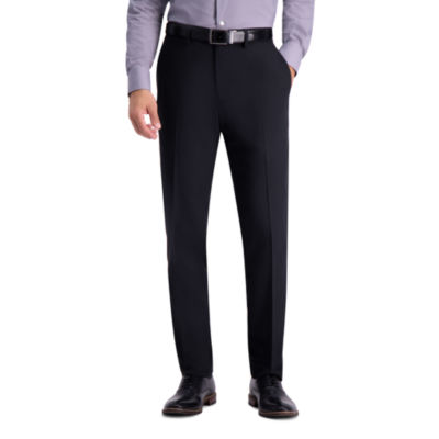 Haggar Black Herringbone Slim Fit Stretch Dress Pants