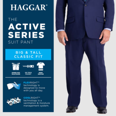 Haggar B&T Active Series Suit Sep Classic Fit Stretch Suit Pants - Big and Tall