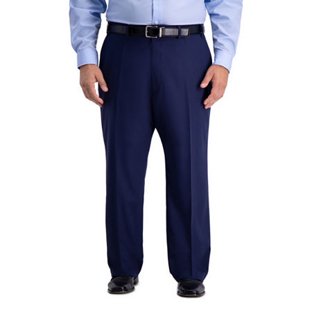 1940s Trousers, Mens Wide Leg Pants Haggar BT Active Series Suit Sep Mens Stretch Classic Fit Suit Pants - Big and Tall 50 30 Blue $41.99 AT vintagedancer.com
