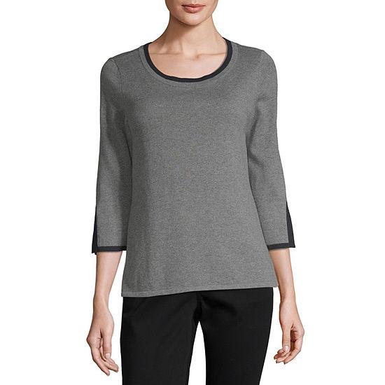 Liz Claiborne 3 4 Sleeve Scoop Neck Pullover Sweater