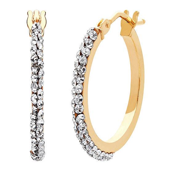 Made In Italy White Crystal 14K Gold 15mm Hoop Earrings