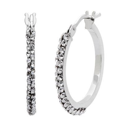 Made In Italy White Crystal 14K Gold 14K White Gold 15mm Hoop Earrings