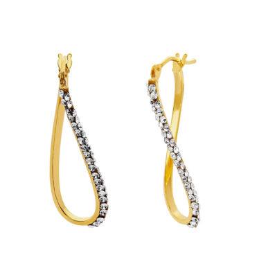 Made In Italy White Crystal 14K Gold 23mm Hoop Earrings