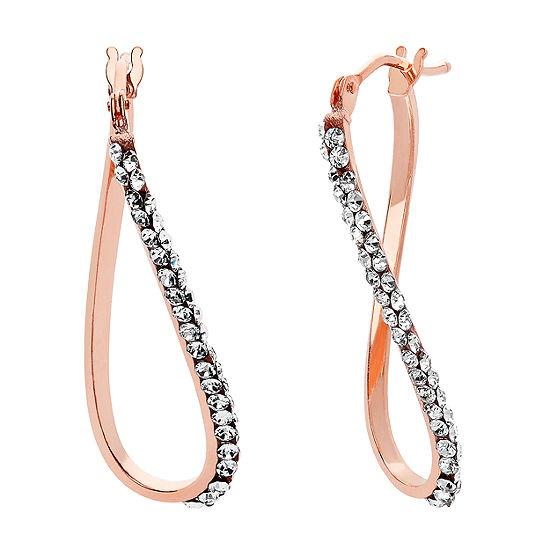 Made in Italy White Crystal 14K Rose Gold 23mm Hoop Earrings