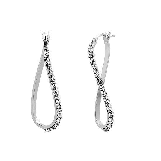 Made In Italy White Crystal 14K Gold 14K White Gold 23mm Hoop Earrings