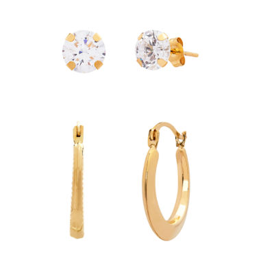 2 Pair White Cubic Zirconia 10K Gold Earring Set
