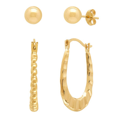 2 Pair 10K Gold Earring Set