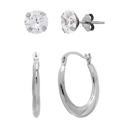 White Cubic Zirconia 10K Gold Earring Set