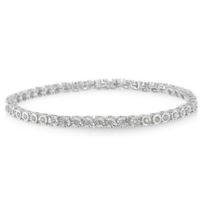 1 CT. T.W. White Diamond Sterling Silver 8 Inch Tennis Bracelet