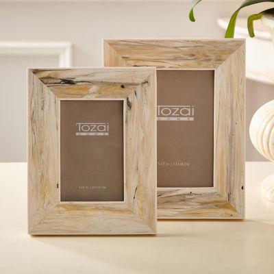 Two's Company Carrara Set Of 2 Faux Marble Photo Frames