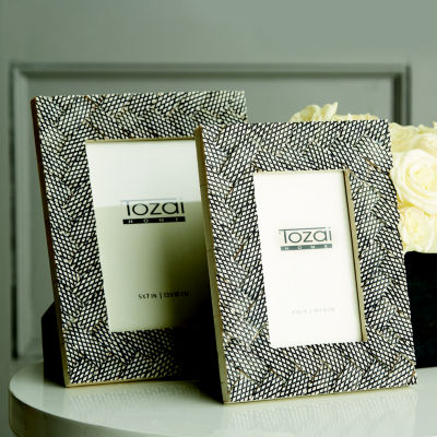 Two's Company Woven Set Of 2 Grey Photo Frames