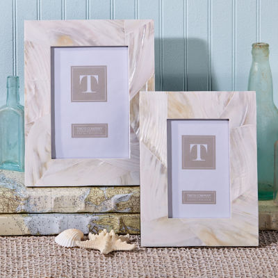 Two's Company Ocean Sand Mother Of Pearl Set Of 2 Photo Frames
