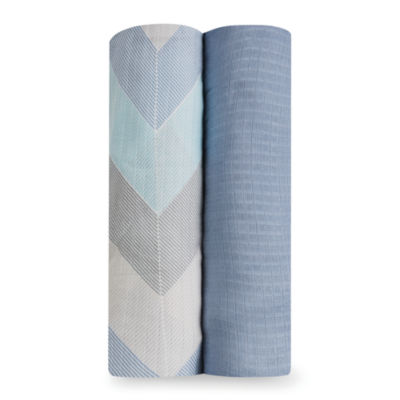 Aden By Aden + Anais Silky Soft Ziggy Blue 2-pc. Swaddle Blanket