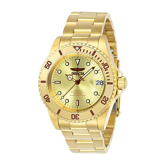 Invicta Pro Diver Mens Automatic Gold Tone Stainless Steel Bracelet Watch-24762