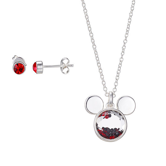 Disney Classics Red Crystal 16 Inch Link Round Mickey Mouse Pendant Necklace