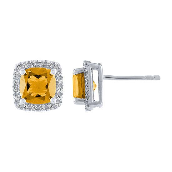 Genuine Yellow Citrine Sterling Silver 9.7mm Stud Earrings