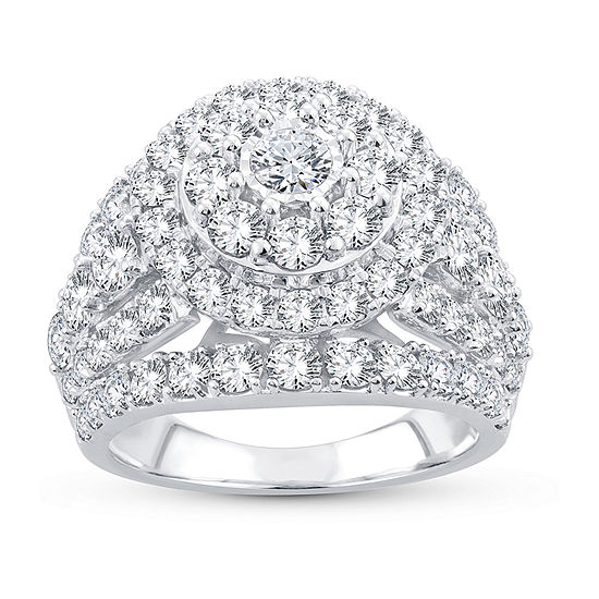 Womens 4 CT. T.W. Lab Grown White Diamond 10K White Gold Engagement Ring
