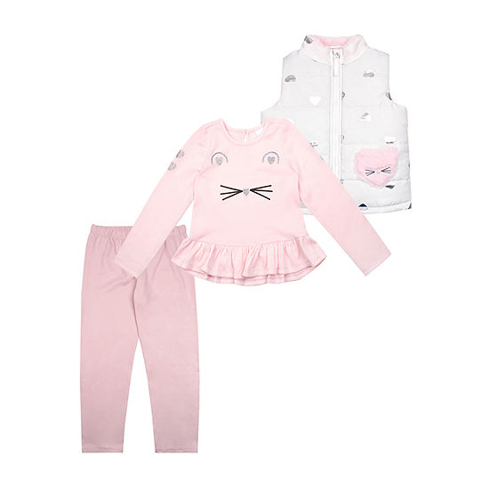 Nannette Baby Girls 3-pc. Hearts Pant Set Toddler