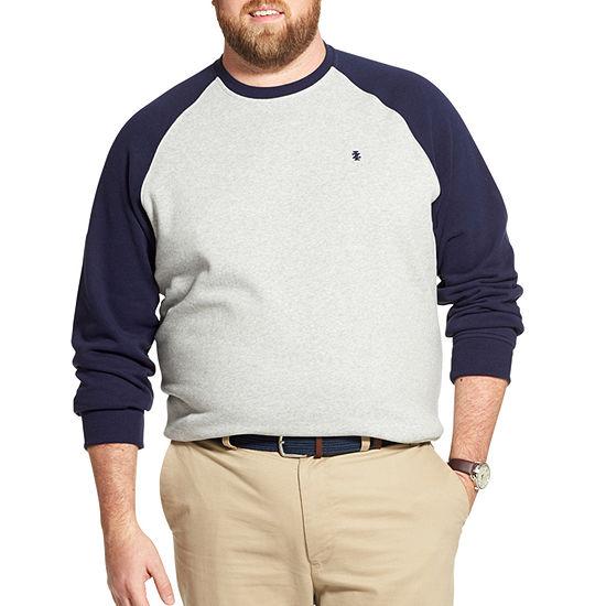 IZOD Big and Tall Super Soft Fleece Varsity Colorblock Raglan Pullover